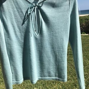 Real Gucci 100% cashmere sweater blue top S leathe